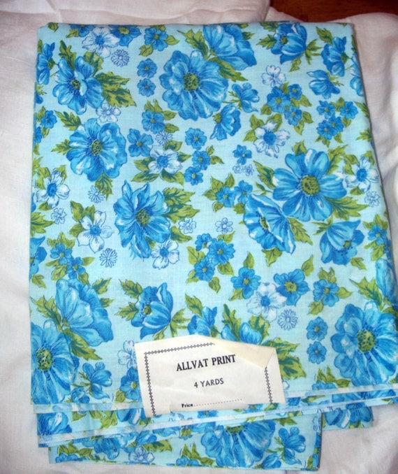 Vintage Cotton Fabric Blue Flowers Floral 36 Wide 4 Yards