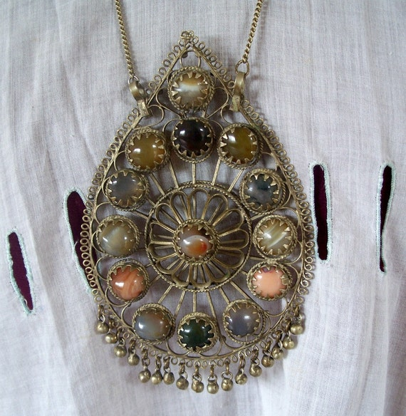 Vintage Ethnic Tribal Huge Pendant Stones Wirework Necklace 1960's