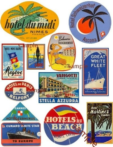 Vintage Inspired Luggage Travel Sticker Sheet No.8