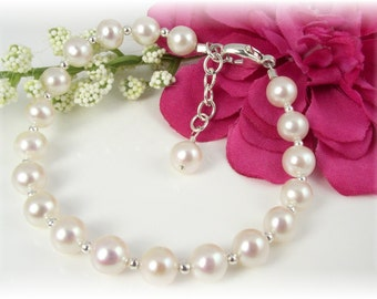 First Communion Bracelet Freshwater Pearls Sterling Silver Beads