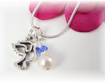 Girls Confirmation Birthstone Necklace Dove Pearl Sterling Pendant
