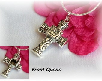Girls Confirmation Sterling Silver Prayer Box Cross Necklace