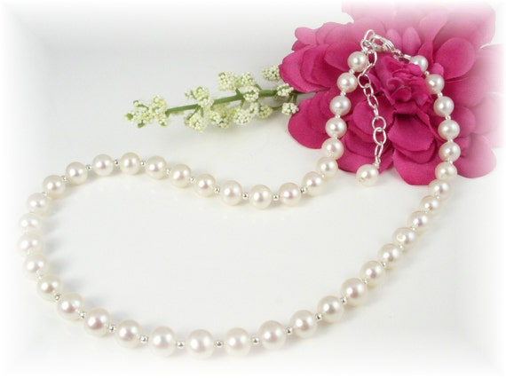 First Communion Necklace Freshwater Pearls Sterling Silver Beads - A Classic Beauty