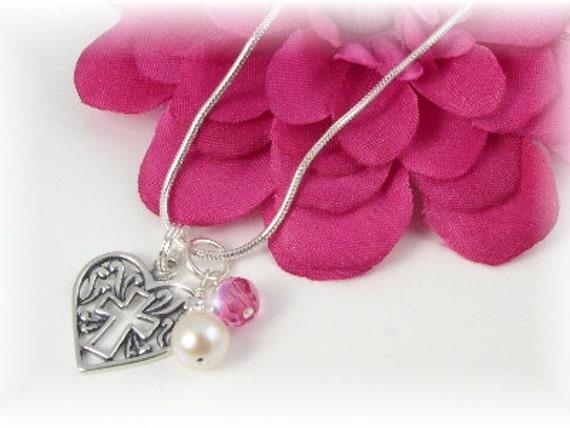 Girls First Communion Birthstone Necklace Heart Cross Sterling Pendant Flower Girl