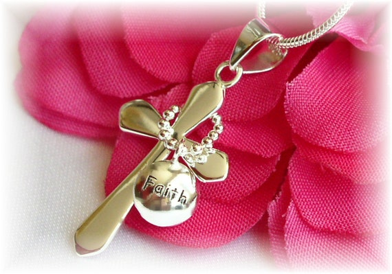 """Girls First Communion Sterling Silver """"Faith"""" Cross Necklace"""