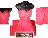 Vintage 1950's 50s sweetheart rhinestone bust red full circle designer Emma Domb cocktail dress XS/S