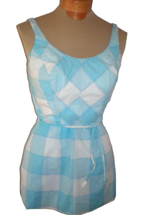"""Vintage 1960's 60s gingham cotton swimsuit bathing suit romper playsuit sz. M/L 30""""w VLV"""
