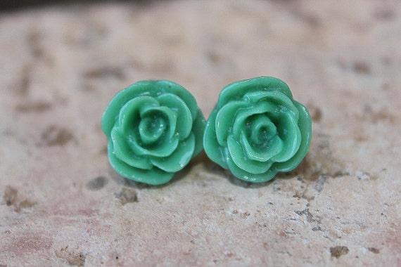 Rose Earrings - 12mm DARLING Emerald Green Earrings  . . . Buy 3 Get 1 FREE . . . Nickel Free, Jade Roses, Flower Earrings