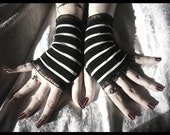 Little Light Fingerless Gloves - Black - Silver White Stripes - Gothic Dark Bellydance Tribal Carnival Lolita Vampire Circus Emo Goth - ZenAndCoffee