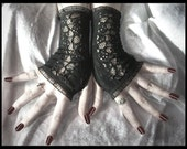 Ode to Revenge Lace Fingerless Gloves in Black for Gothic, Vampire, Noir, Tribal Fusion, Belly Dance, Steampunk, Lolita, Evening, Victorian, Romantic, Rustic, Bohemian Styles