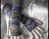 Custom for kermchugh - Paris at Dusk Long Lace Arm Warmers in Smokey Plum, Violet, Brown and Grey with Black and Silver Boucle Accents for Belly Dance, Kuchi, Steampunk, Vampire, Bohemian, Earth Mother, Gothic, Tribal Fusion, Dark Styles