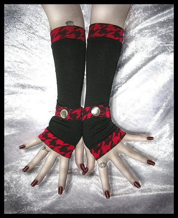 Under a Red Moon Spat Style Arm Warmers - Black - Red & Black Houndstooth Wrist Strap - Small Vintage Silver Button - Gothic Goth Punk Emo