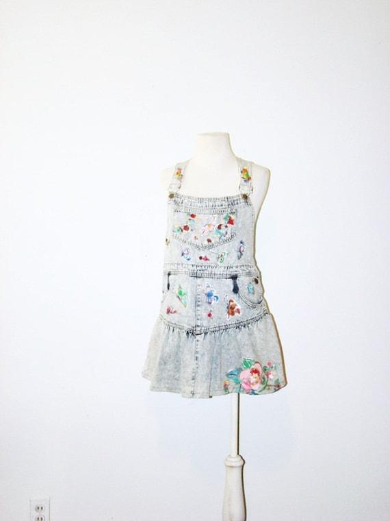 vintage stone wash dress . denim dress . pinafore slouchy dress .  xs / s / m  at montanasnowvintage
