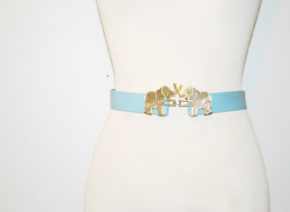 "elephant buckle . vintage 1980 belt . mimi di n .   sz  xs - s - m  (waist  33"") at montanasnowvintage"