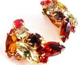 Juliana style autumn rhinestone clip earrings