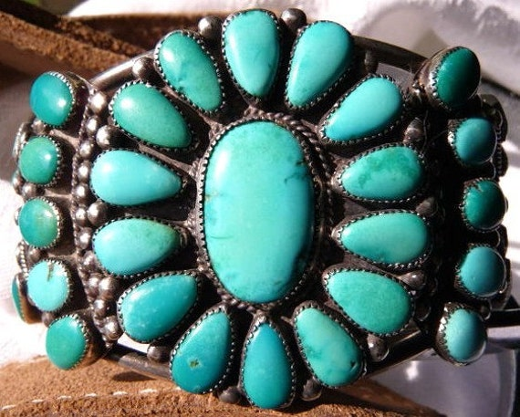 Old Pawn Native American sterling silver and turquoise cluster cuff bracelet
