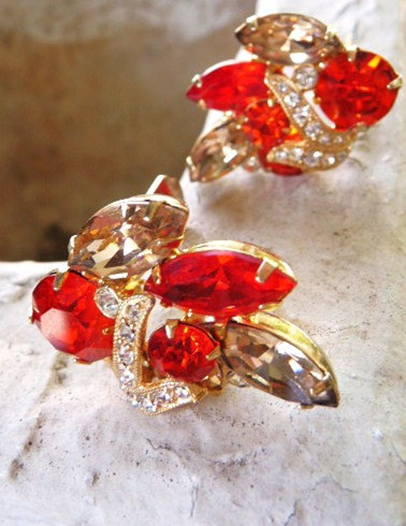 Eisenberg Ice Topaz and Red Orange clip earrings