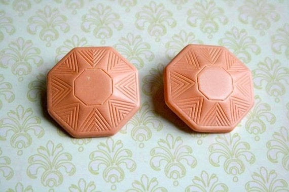 Retro pink lucite clip earrings