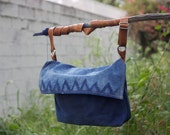 Waxed Canvas, Indigo, Leather Messenger Bag