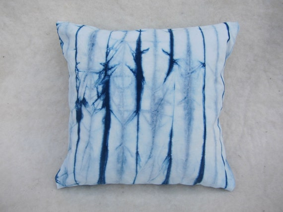 Pillow : Natural Indigo Dyed Soft Sanded Canvas with Pin Stripe Pattern
