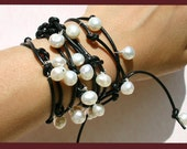 Moonlight Pearl Leather Wrap Bracelet - White Silver And Black