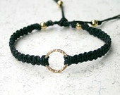 Karma Friendship Bracelet Gold Hammered Circle Ring On Black Cotton Cord