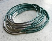 New Color Trully Teal 10 Leather Bangle Bracelets with Gold or Silver Tubes