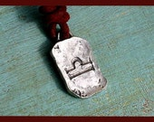 Leather Surfer Necklace With Ancient Zodiac LIBRA - Distresed Cord