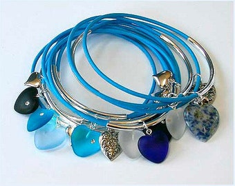 Sky Blue Leather Bangles Silver Tubes with Mixed Blue Hearts Gemstone Metal Charms Bangle