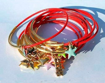 Red Leather Bangles Bracelet with Gold Plated Stars