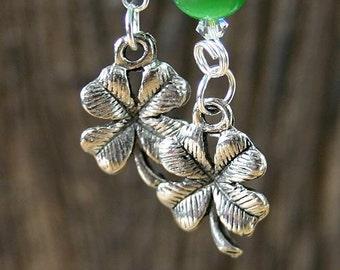 St. Patrick's Day Pewter Clover Fishhook Earrings