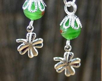 St Patrick's Day Small Clover Fishhook Earrings