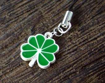 St Patricks Day Cell Phone Charm Green Big Clover