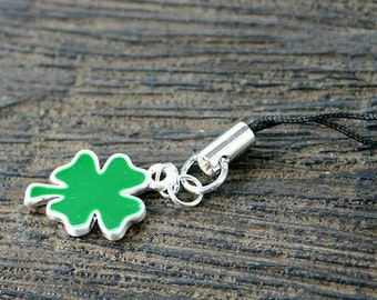 St Patricks Day Cell Phone Charm Green Clover