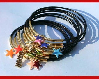 10 Leather Bangles Bracelets with Gold Stars