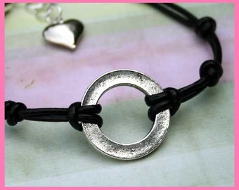 Karma Bracelet Double Leather Strap With Black Ring