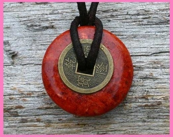 Leather Necklace with Red Jasper Donut and Chinese Lucky Coin