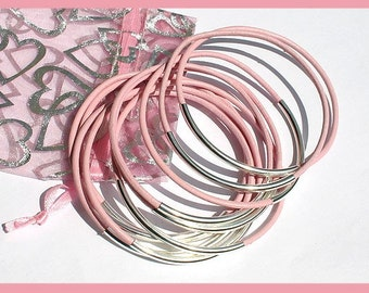 Leather Bangles Bracelets Pink Leather and Silver Metal Tubes