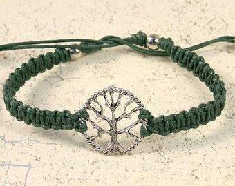 Karma Friendship Bracelet Tree Of Life On Green Cotton