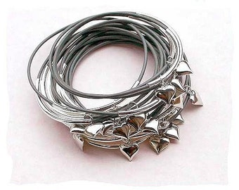 FREE shipping 10 Gray Leather Bangles with Silver Hearts