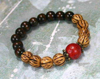 Yoga Mala Bracelet Dark Burnt Wood And Red Coral Beads