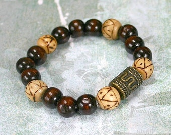 Yoga Mala Bracelet Dark Wood And Antiqued Brass Beads