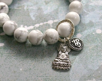 Howlite Yoga Mala Bracelet Lakshmi Buddha and Aum Ohm Sign