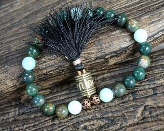 27 Beads Yoga Mala Bracelet Indian Bloodstone New Jade And Brass