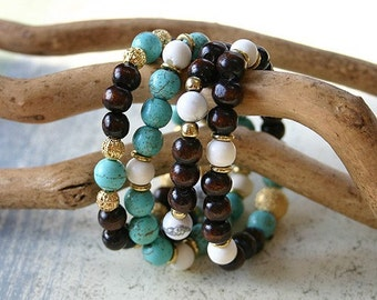 Meditation Bracelet Set Wood Magnesite Howlite And Bone