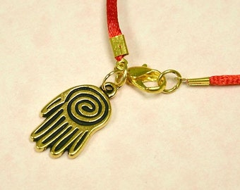 Red Satin Bracelet with Big Gold Hamsa Charm Life Spiral