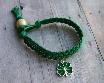 St Patrick's Day Woven Green Hemp Bracelet With Green Clover Charm