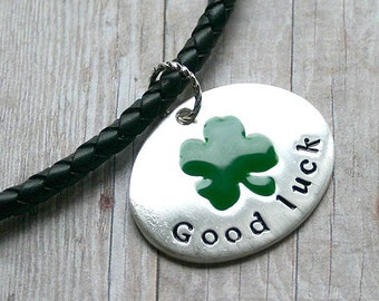 Bola Leather Necklace Good Luck Clover Drop St Patrick's Day