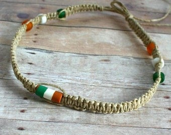 Surfer Hemp Necklace With Irish Flag
