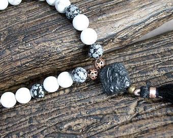 27 Beads Yoga Mala Bracelet Howlite Obsidian And Cinnabar